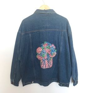 Vintage 90s hand painted custom denim jean jacket